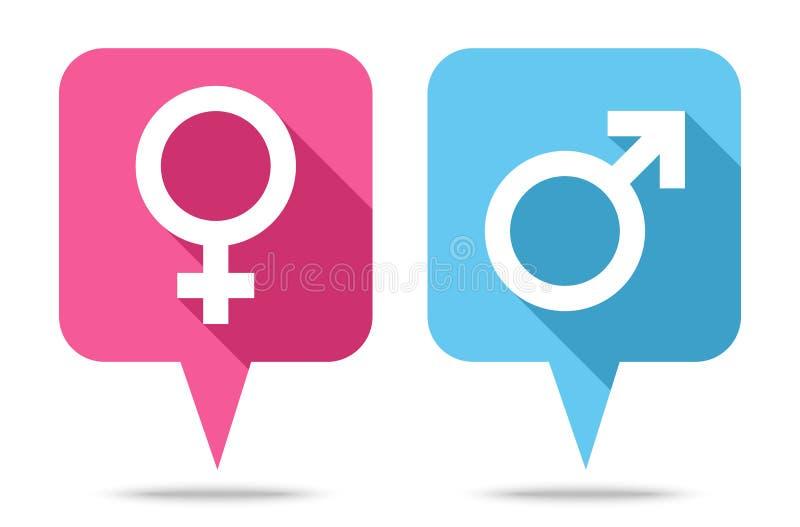 O discurso borbulha os ?cones f?meas e masculinos com sombra ilustração royalty free