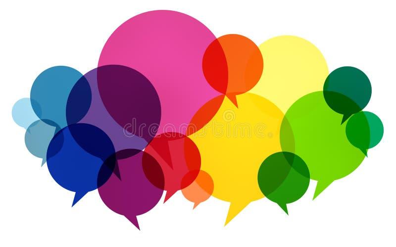 O discurso borbulha os pensamentos coloridos de uma comunicação que falam o conceito ilustração do vetor