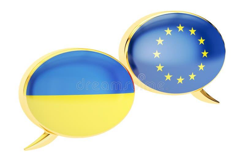 O discurso borbulha, Uktaine-UE dialoga o conceito, rendição 3D ilustração royalty free