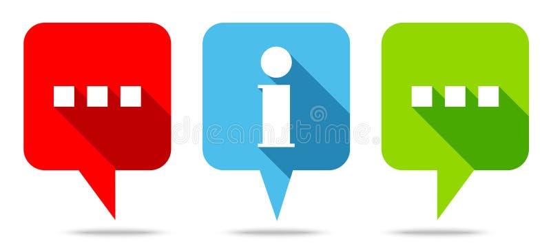 O discurso borbulha verde azul vermelho de uma comunicação e da informação ilustração do vetor