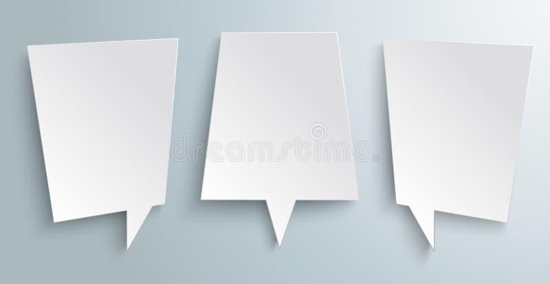 O discurso 3 branco abstrato borbulha encabeçamento ilustração do vetor