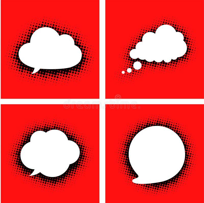 O discurso branco nubla-se com sombra pontilhada no vermelho ilustração stock