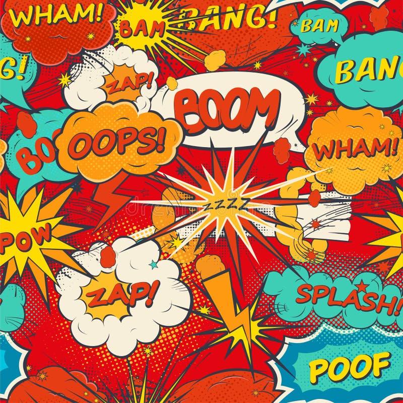 O discurso cômico do teste padrão sem emenda borbulha no estilo do pop art ilustração royalty free