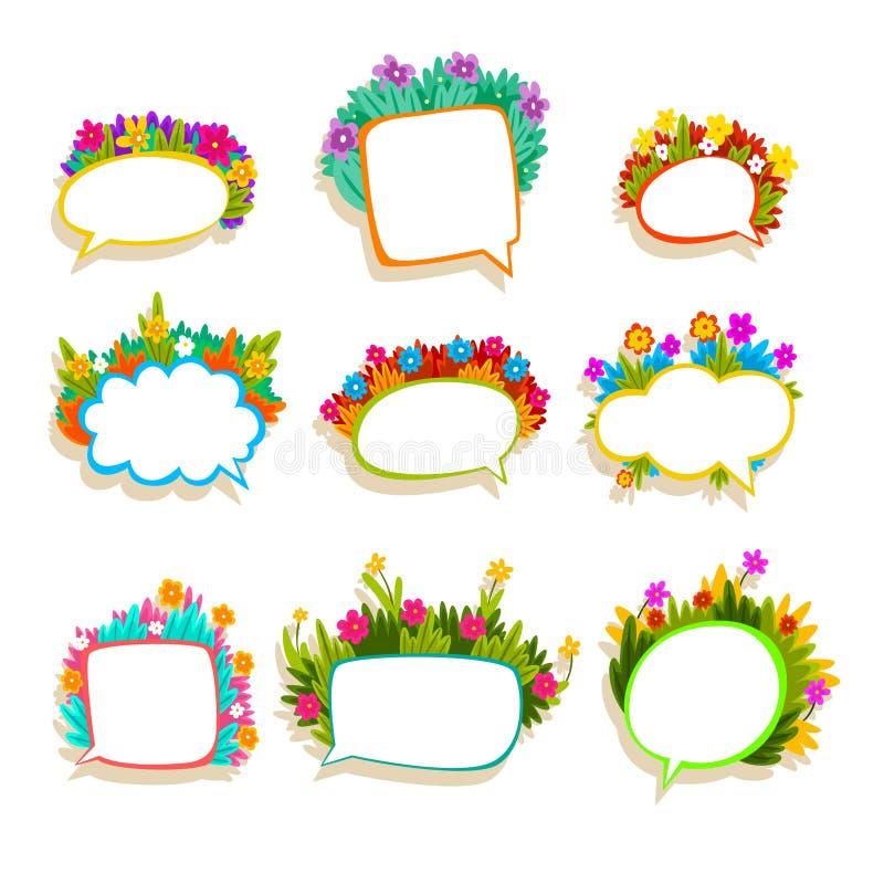 O discurso colorido borbulha com flores, nuvens vazias do diálogo decoradas com ilustrações ajustadas plantas do vetor do verão n ilustração royalty free