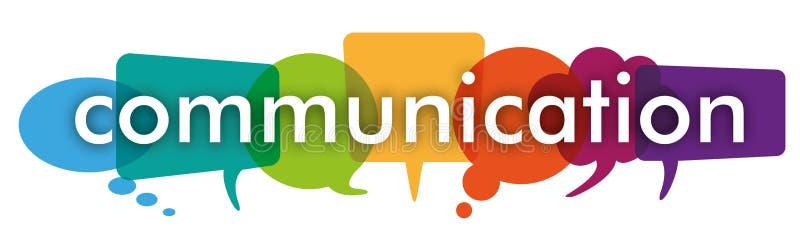 O discurso colorido borbulha uma comunicação do encabeçamento ilustração do vetor