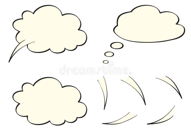 O discurso, pensa, bolhas do pensamento, como nuvens ilustração do vetor