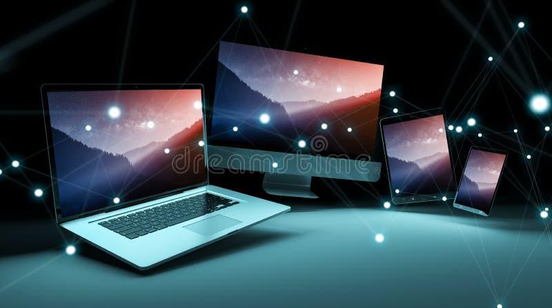 O dispositivo digital moderno da tecnologia conectou entre si a rendição 3D ilustração royalty free