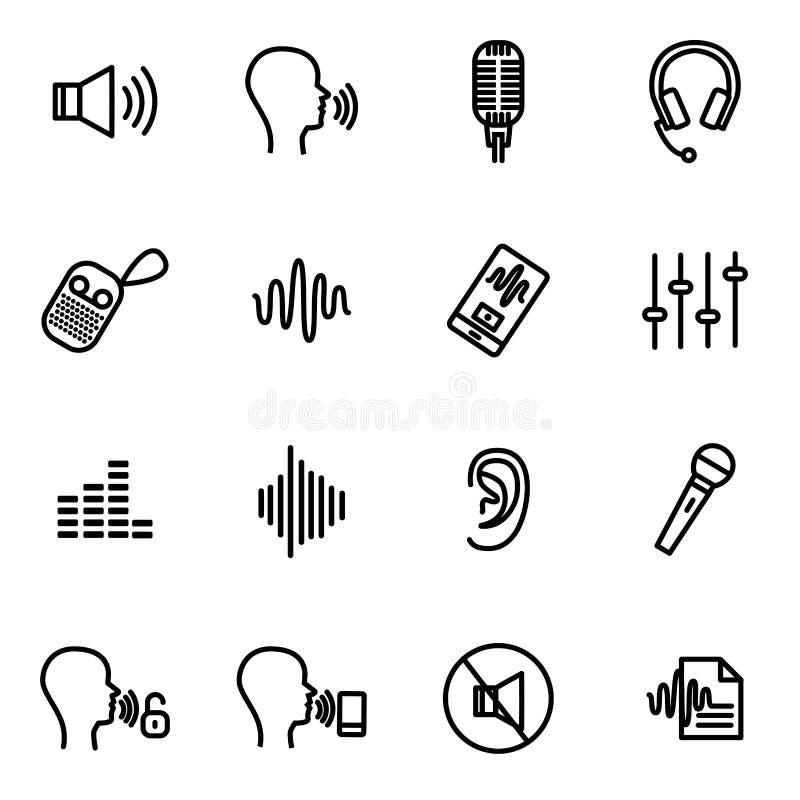 O dispositivo do reconhecimento de voz assina a linha fina preta grupo do ícone Vetor ilustração royalty free