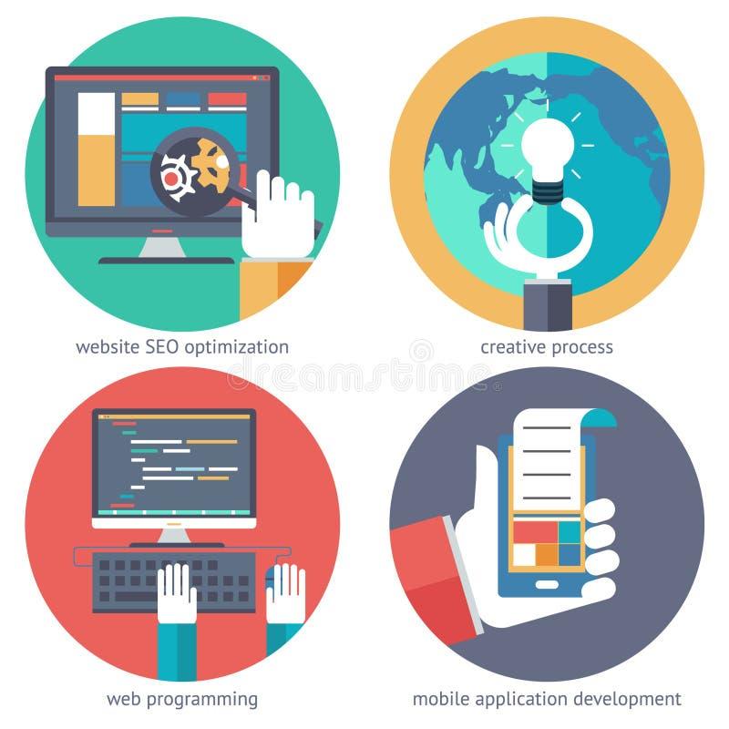 O dispositivo móvel criativo do telefone celular do PC do desenvolvimento dos apps SEO do projeto de programação da Web das ideia ilustração royalty free