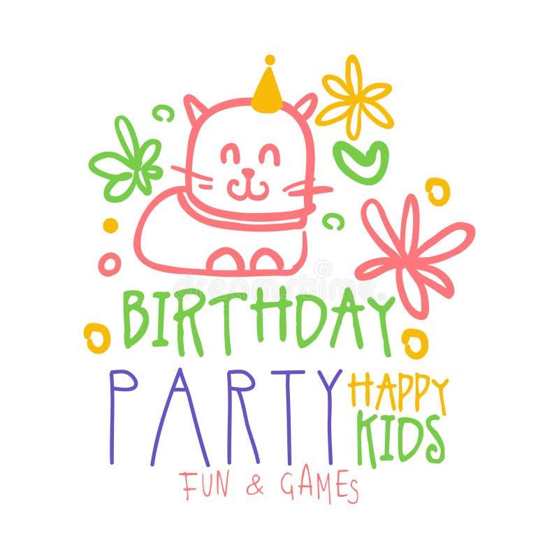 O divertimento das crianças da festa de anos e o promo felizes dos jogos assinam Ilustração tirada do vetor do partido das crianç ilustração do vetor