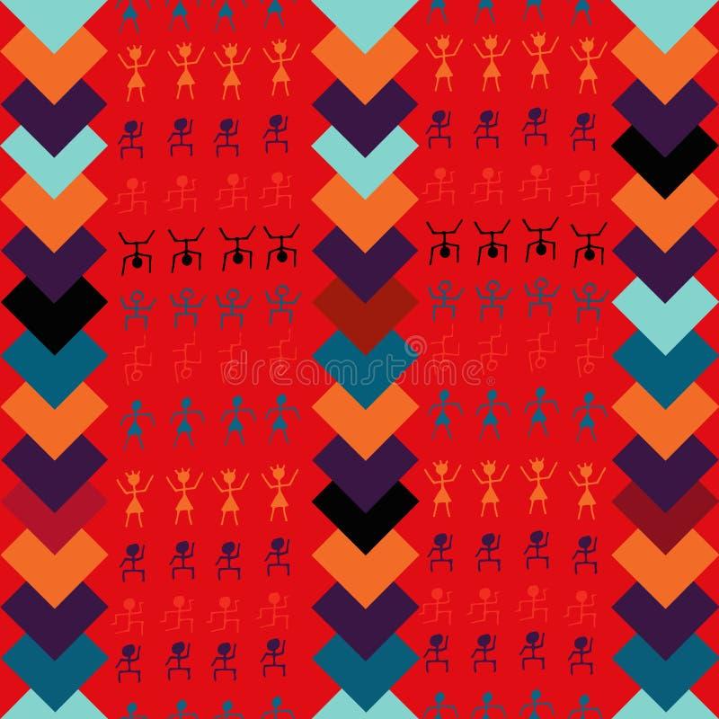 O divertimento e mão colorida a arte nativa tirada do tribo projetam com vetor sem emenda do teste padrão dos motriz africanos ilustração stock