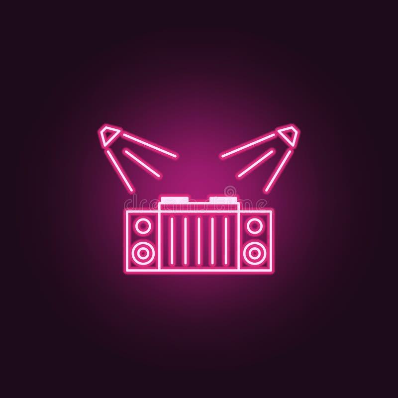 o DJ apresenta o ícone Elementos da fase do projetor nos ícones de néon do estilo Ícone simples para Web site, design web, app mó ilustração stock