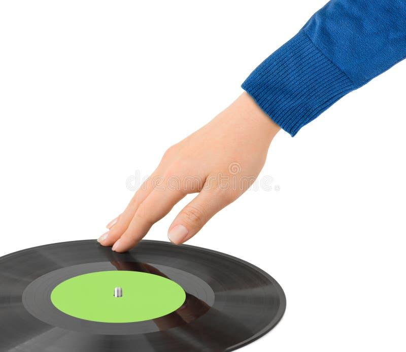 O DJ entrega e disco imagem de stock