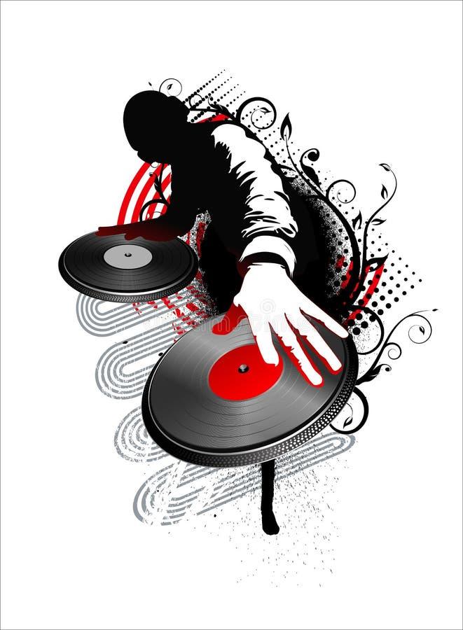 O DJ mistura - o vermelho ilustração do vetor
