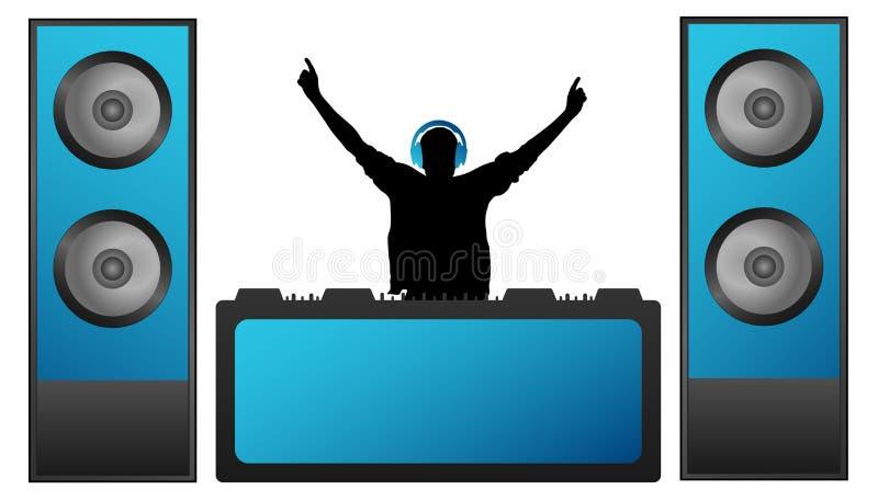O DJ nos fones de ouvido joga a música no misturador Oradores grandes musicais Partido, concerto, clube, festival ilustração do vetor