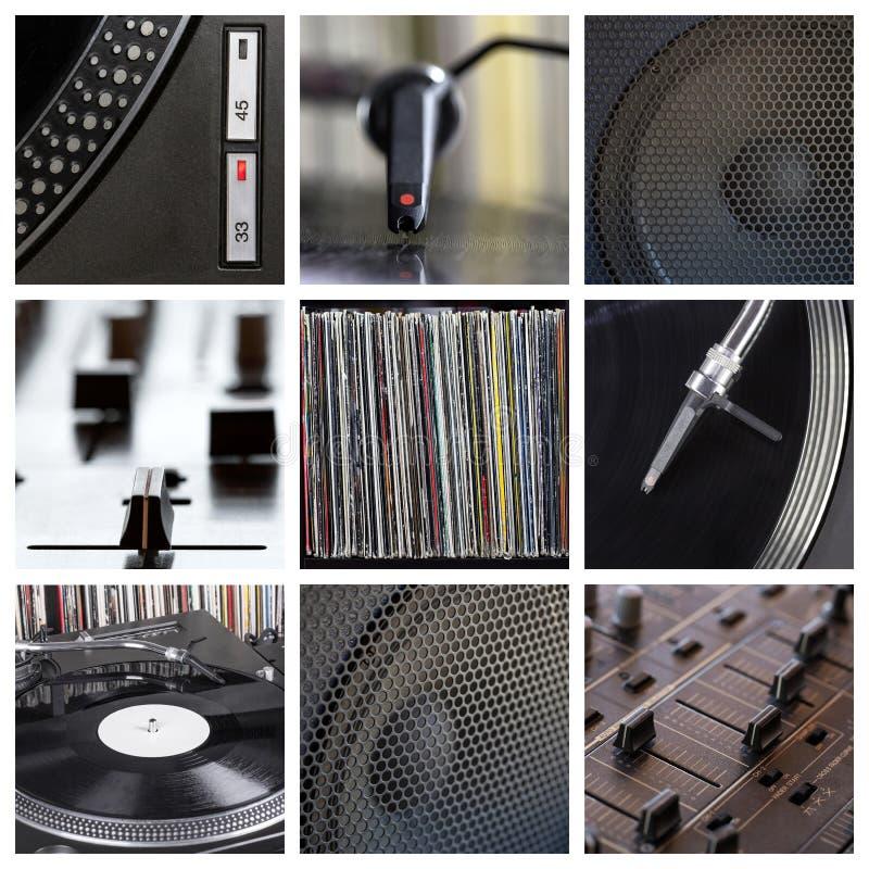 O DJ utiliza ferramentas a colagem imagens de stock royalty free