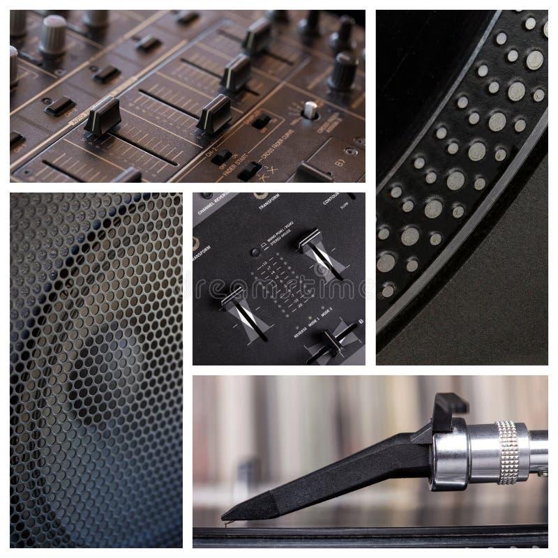 O DJ utiliza ferramentas a colagem imagens de stock