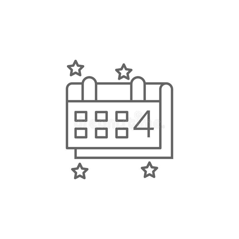 4o do ícone do esboço da celebração do calendário de julho Elementos do ícone da ilustração do Dia da Independência Os sinais e o ilustração stock