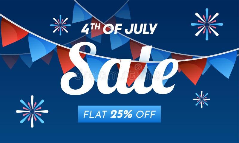 4o do conceito da venda de julho com plano 25% fora na decoração da bandeira da estamenha ilustração do vetor