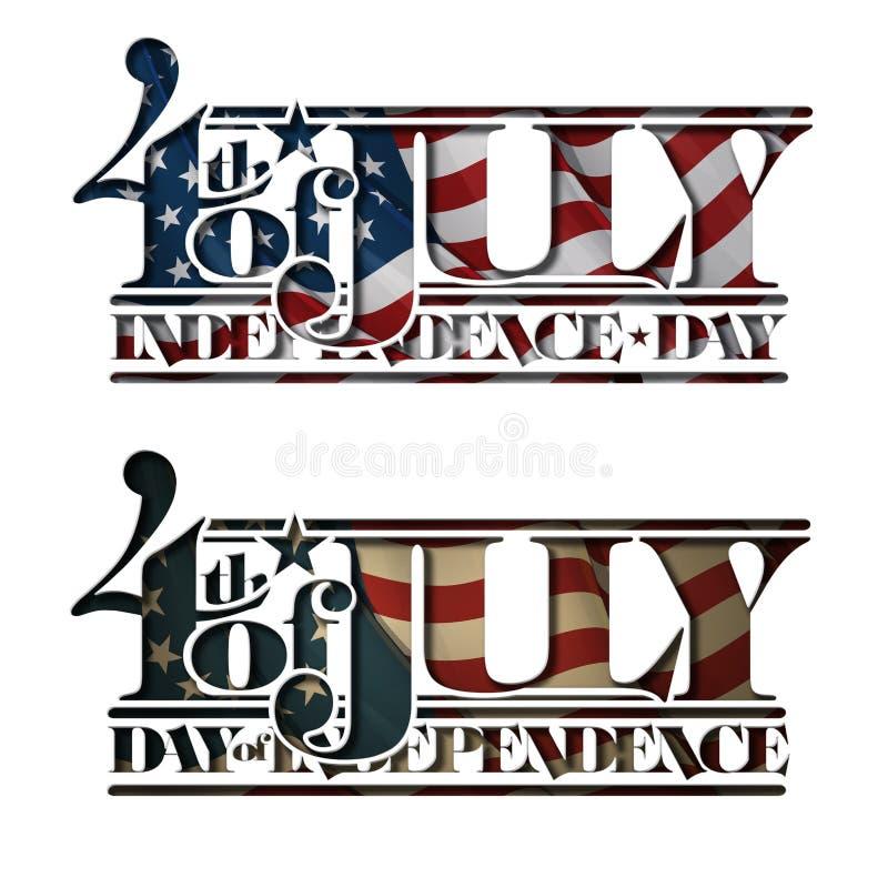 4o do Dia da Independência do entalhe de julho ilustração do vetor