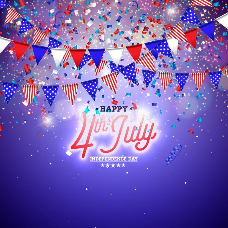 4o do Dia da Independ?ncia de julho da ilustra??o do vetor dos EUA Quarto do projeto nacional americano da celebra??o de julho co ilustração do vetor