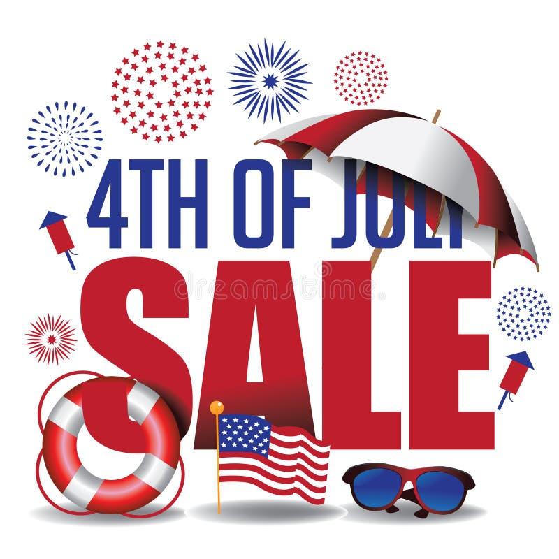 4o do encabeçamento do mercado da venda de julho ilustração do vetor