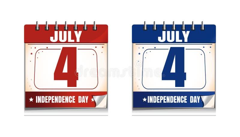 4o do grupo do ícone do calendário de julho Dia da Independência dos E.U. ilustração stock