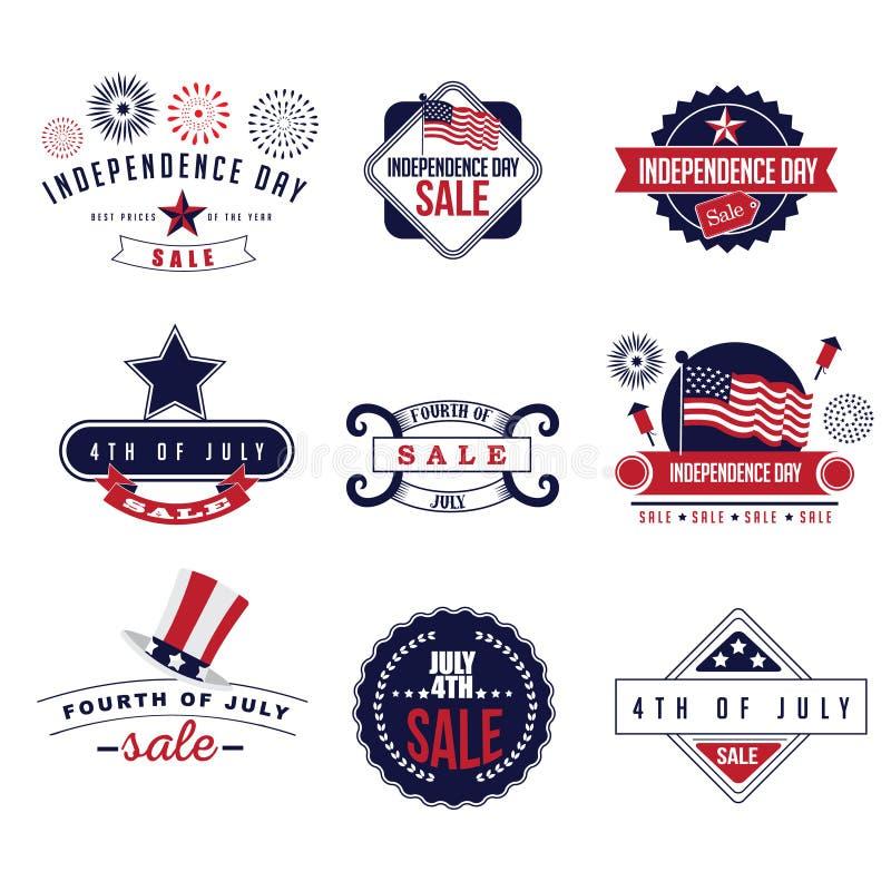 4o do vetor do EPS 10 dos ícones da venda de julho ilustração royalty free