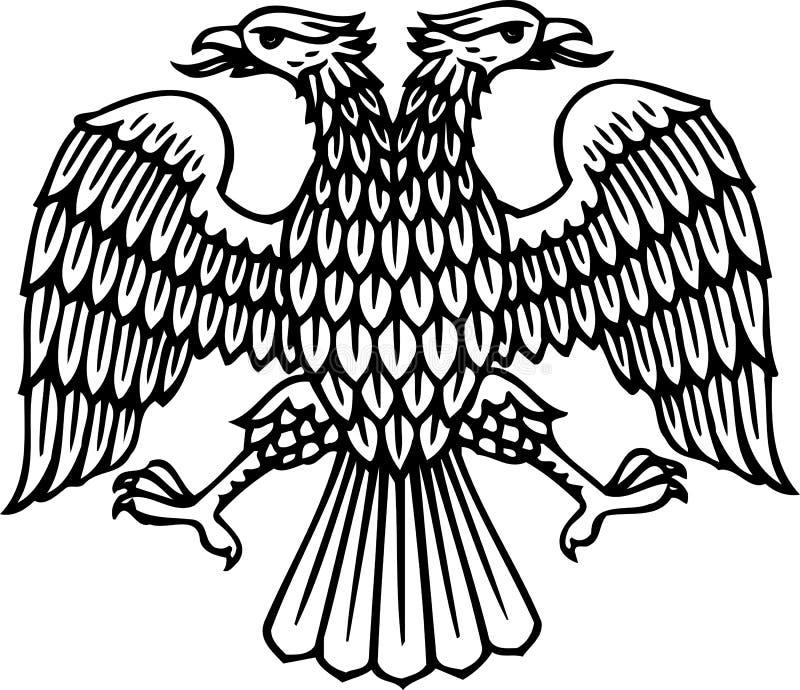 O dobro dirigiu a silhueta da águia ilustração do vetor