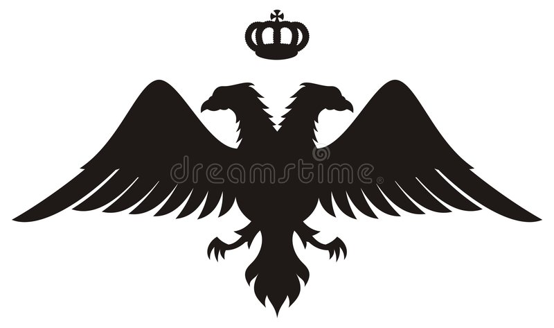 O dobro dirigiu a silhueta da águia com coroa ilustração stock