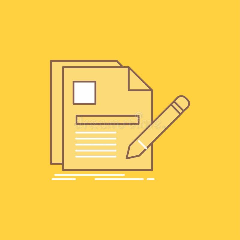 o documento, arquivo, página, pena, linha lisa do resumo encheu o ícone Bot?o bonito do logotipo sobre o fundo amarelo para UI e  ilustração stock
