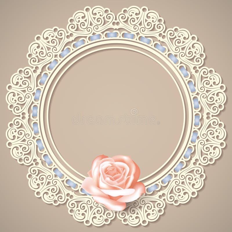 O doily vazio branco do quadro do laço com realístico aumentou no fundo bege ilustração royalty free