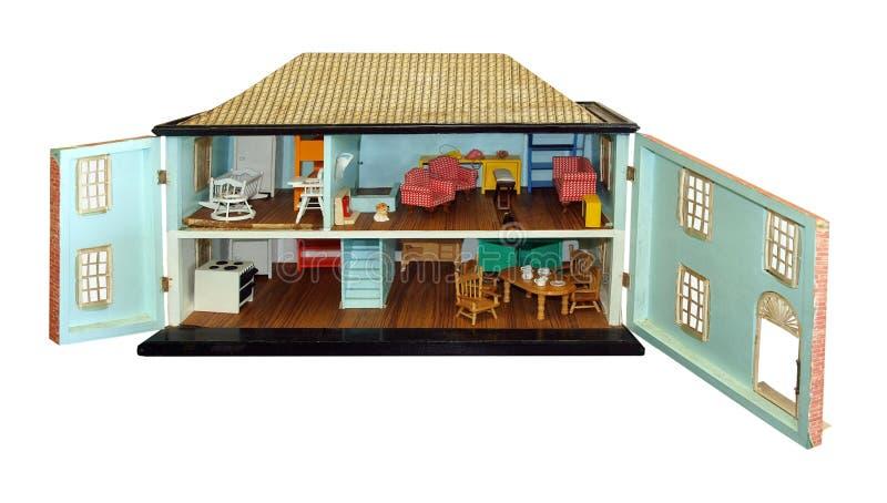 O Dollhouse antigo com portas abre fotografia de stock