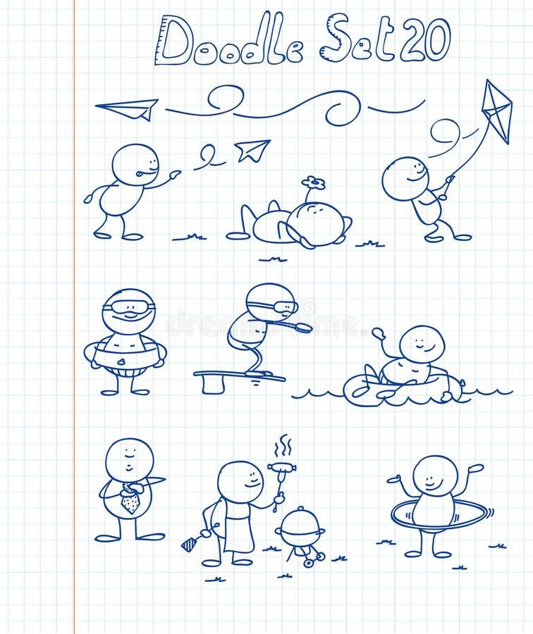 O Doodle ajustou 20 ilustração stock