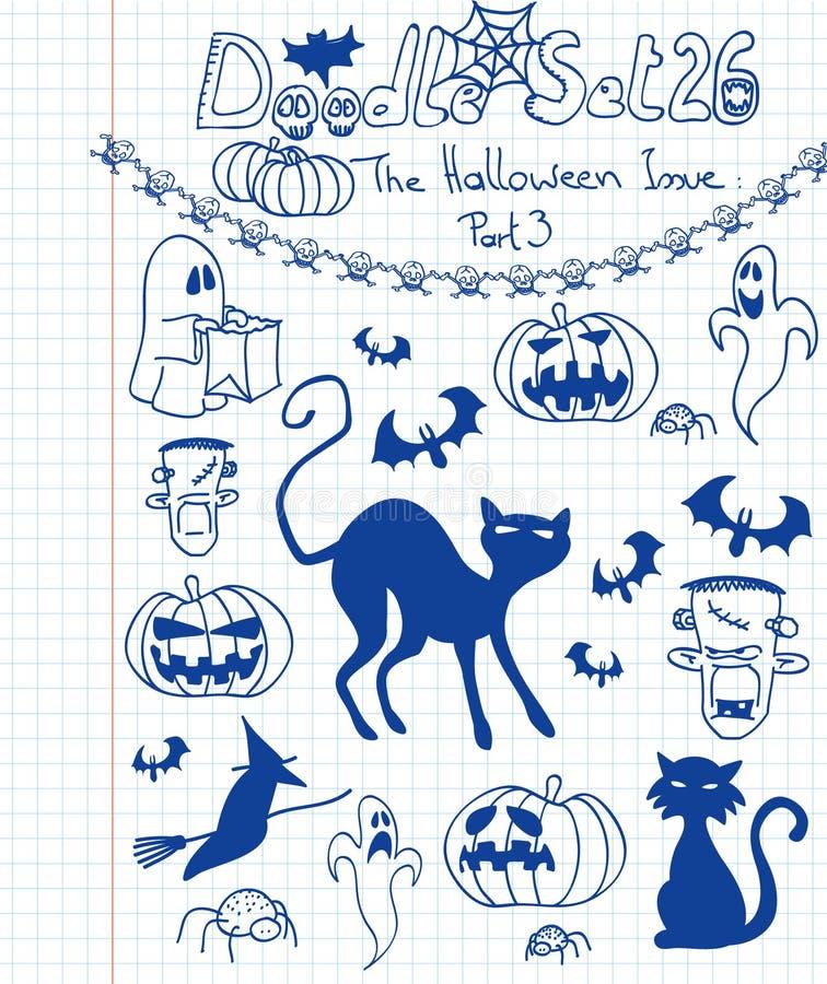 O Doodle ajustou 26 ilustração royalty free