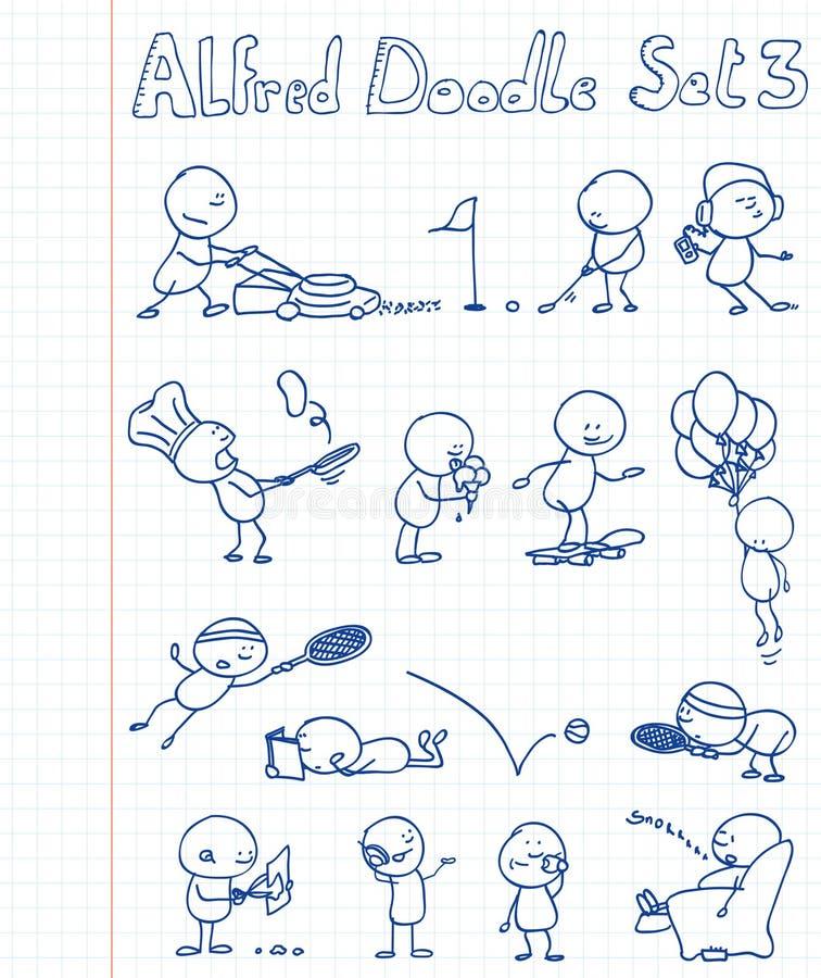 O Doodle de Alfred ajustou 3 ilustração do vetor