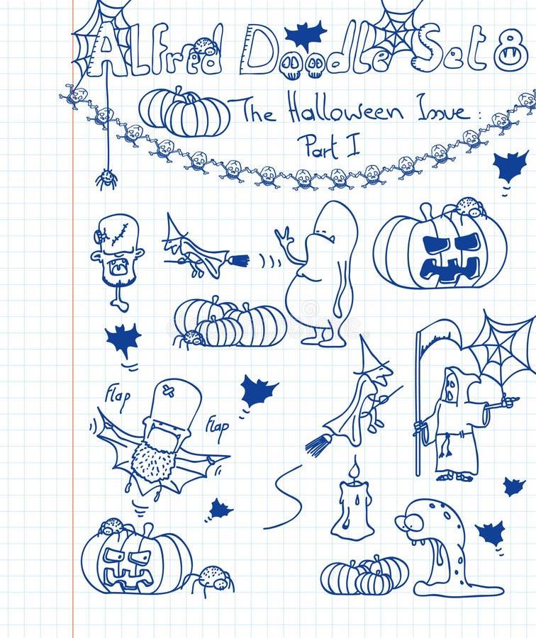 O Doodle de Alfred ajustou 8 ilustração royalty free
