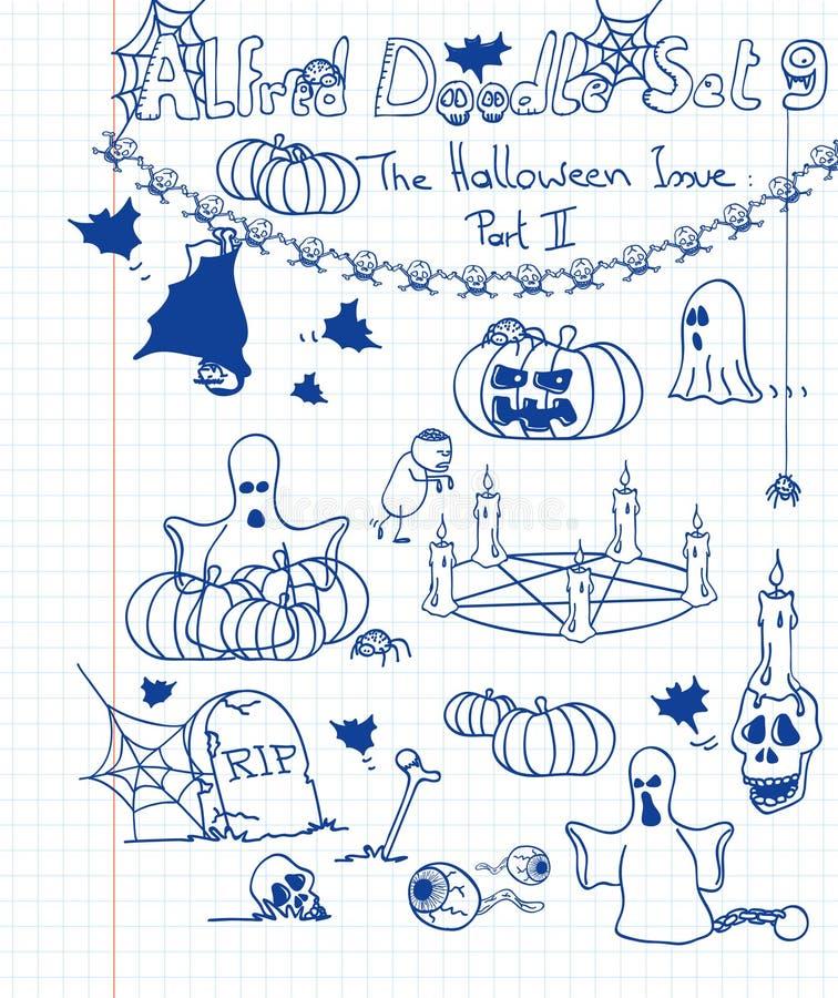 O Doodle de Alfred ajustou 9 ilustração stock