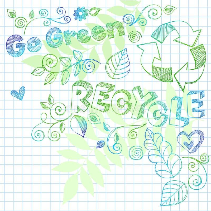 O Doodle esboçado do caderno recicl a ilustração ilustração stock