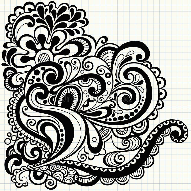 O Doodle Hand-Drawn roda vetor ilustração royalty free