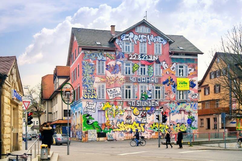 O dormitório dos estudantes está na cidade Tuebingen imagem de stock