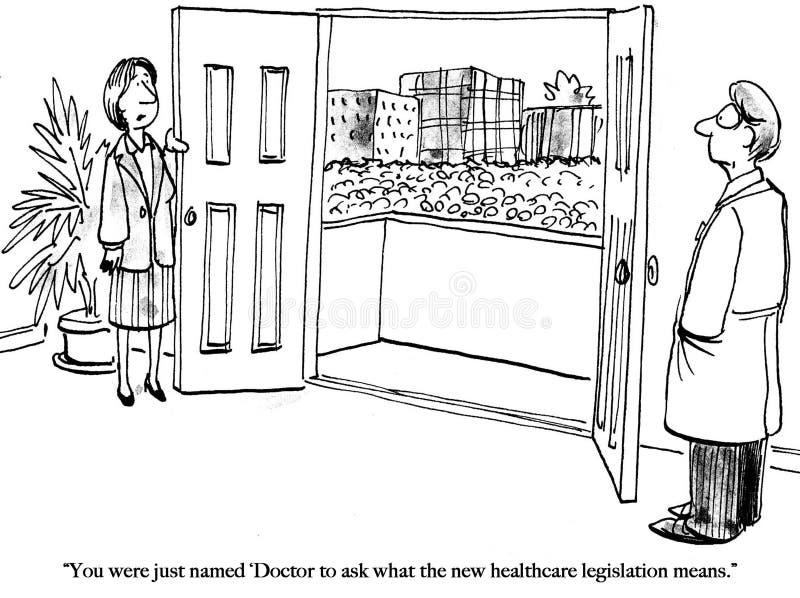 O doutor é as pessoas designadas para perguntas de saúde ilustração stock