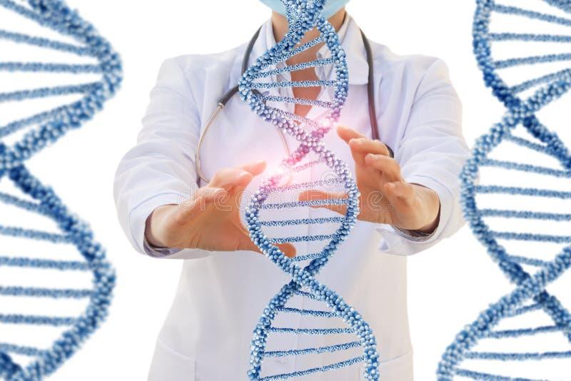 O doutor conduz um teste do ADN humano imagem de stock