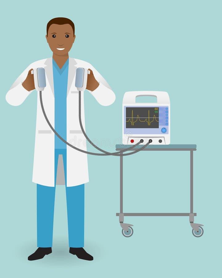 O doutor da emergência com um desfibrilador em sua mão está pronto para influenciar Empregado médico Especialização do doutor ilustração royalty free