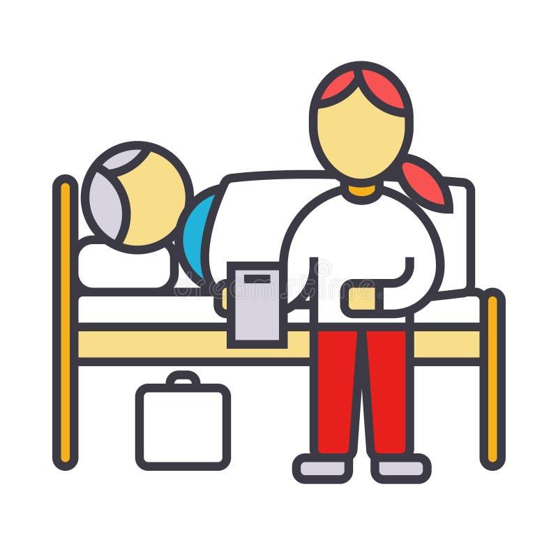 O doutor do berçário com o paciente na linha lisa ilustração da clínica do hospital, vetor do conceito isolou o ícone ilustração stock