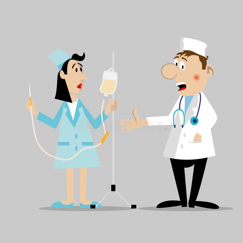 O doutor e a enfermeira caráter ilustração do vetor