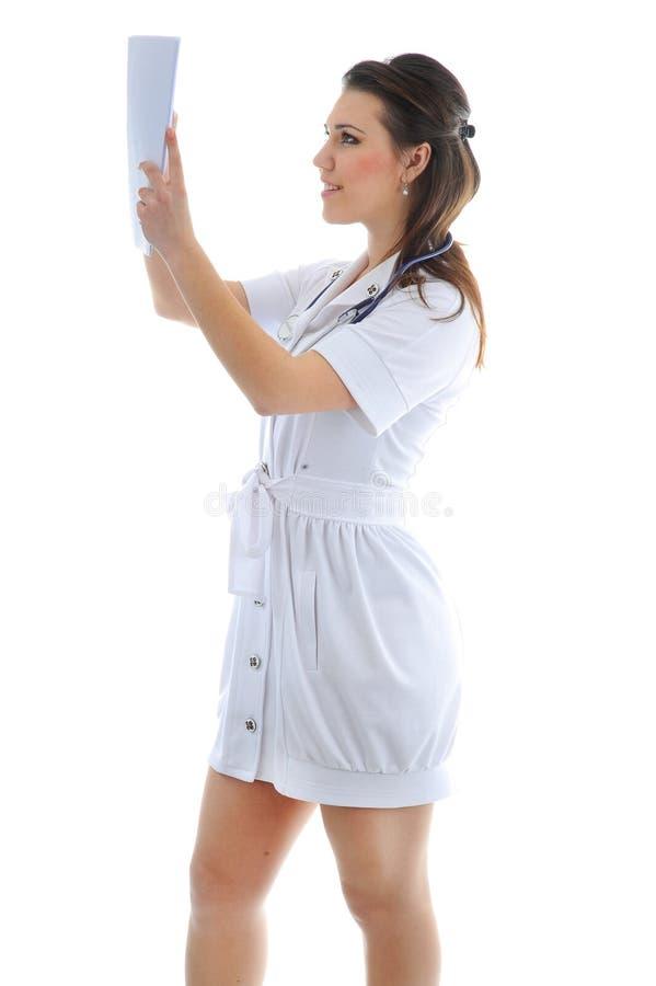O doutor em um fundo branco fotografia de stock royalty free