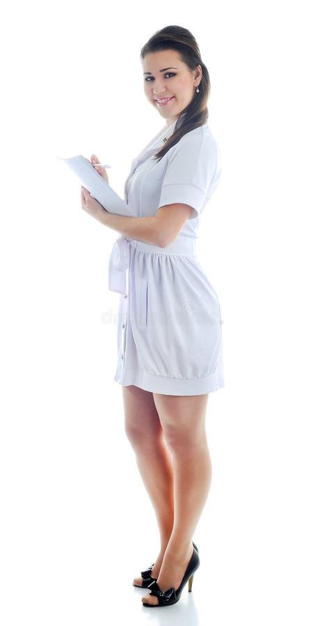 O doutor em um fundo branco fotos de stock