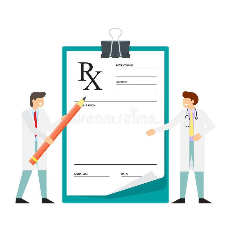 O doutor entrega a escrita Formulário da prescrição de RX ilustração royalty free