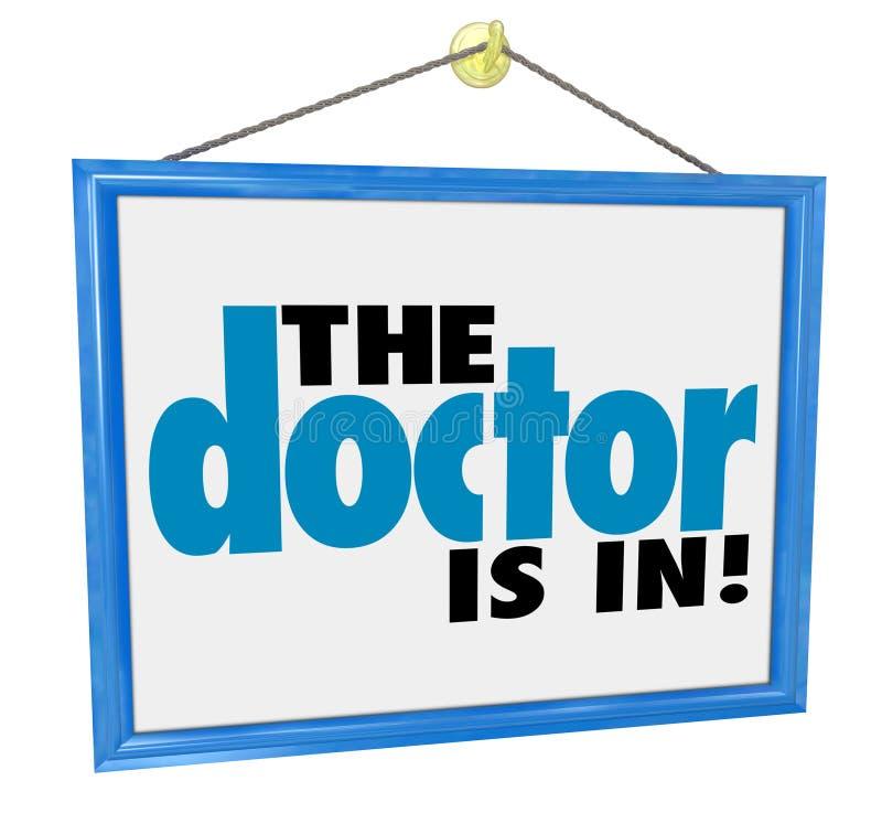 O doutor está no escritório físico Adver da nomeação do controle do sinal ilustração royalty free